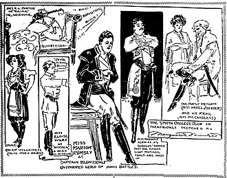 "Arms and the Man - Actors of the Smith College Club of St. Louis are sketched rehearsing for an all-woman amateur benefit performance of George Bernard Shaw's ""Arms and the Man"" in December 1908. No men were allowed in the rehearsals or at the performance. The illustration is by Marguerite Martyn of the St. Louis Post-Dispatch."