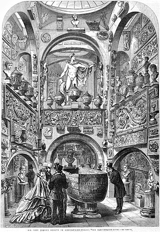 Sir John Soane's Museum - The sarcophagus of Seti I in the Sepulchral Chamber in the centre of the 'Museum' at the back of the house, as shown in the Illustrated London News in 1864.