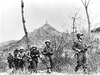 Brazilian Expeditionary Force - Soldiers of the BEF during the second assault of the Battle of Monte Castello on 29 November 1944.