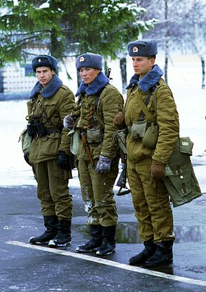 Afghanka - Soviet soldiers wearing the winter Afghanka uniform, both the Afghanka collar and the ushanka are made from fishfur. Russia, 1992.