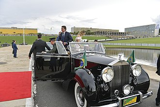 Official state car - Brazilian President Jair Bolsonaro, in the presidential Rolls Royce, during his 2018 presidential inauguration.