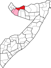 Location of Berbera District within the Woqooyi Galbeed region