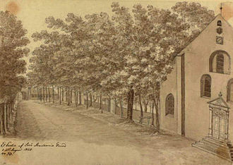 Sorø Municipality - Drawing of the courtyard at Sorø Academy, Denmark by Ole Jørgen Rawert, August 1820