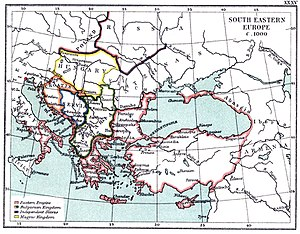 Byzantine–Venetian Treaty of 1082 - The Byzantine Empire and neighbouring countries at the beginning of the 11th century