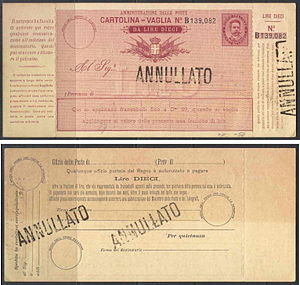 Money order - A specimen money order of Italy c. 1879.