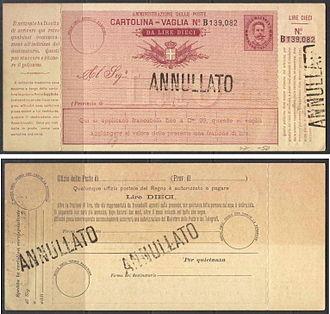 Money order - A specimen money order of Italy c. 1879.