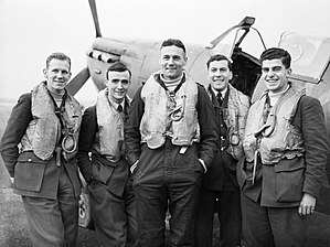 No. 41 Squadron RAF - Fg Off John Mackenzie DFC RNZAF, Flt Lt Tony Lovell DFC, Sqn Ldr Don Finlay (OC 41 Squadron), Flt Lt Norman Ryder DFC, and Plt Off Roy Ford, RAF Hornchurch, late November 1940.