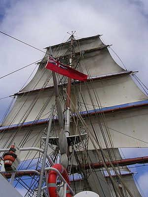 Square rig - Main-mast of a square-rigged brig, with all square sails set except the course
