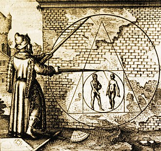 Methods of divination - An arithmancer from Atalanta Fugiens (1618), by Michael Maier