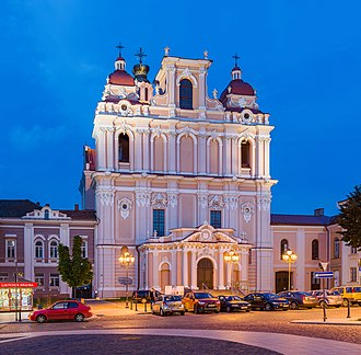 Church of St. Casimir, the first Baroque church in Vilnius, known for excellent acoustics and organ concerts with renowned international musicians St Casimir Church Exterior At Dusk, Vilnius, Lithuania - Diliff.jpg