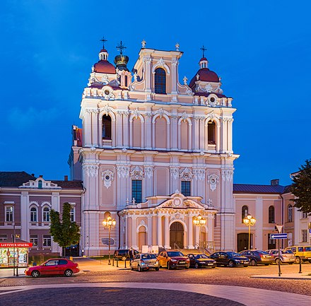 Church of St. Casimir, the first and the oldest Baroque church in Vilnius St Casimir Church Exterior At Dusk, Vilnius, Lithuania - Diliff.jpg