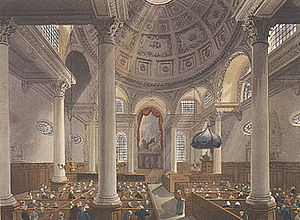 St Stephen Walbrook - The interior of St Stephen Walbrook in the early 19th century.