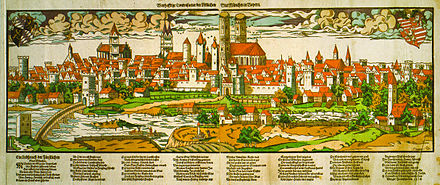 Munich in the 16th century Stadtansicht 1572.jpg