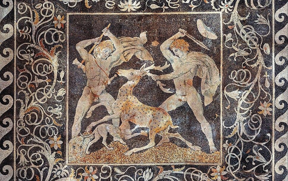 Stag hunt mosaic, Pella