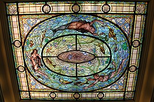English: A stained glass skylight in Fordyce B...