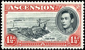 "Postage stamps and postal history of Ascension Island - A 1938 stamp showing a view of ""The Pier""."