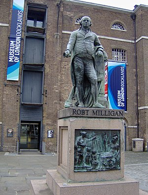 Museum of London Docklands - Image: Standbeeld Robert Milligan Museum of London Docklands