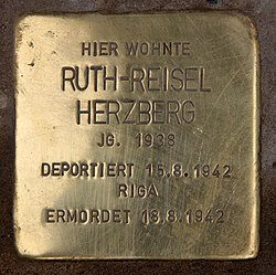 Photo of Ruth-Reisel Herzberg brass plaque
