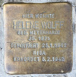 Photo of Helene Lina Wolff brass plaque
