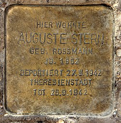 Photo of Auguste Stern brass plaque