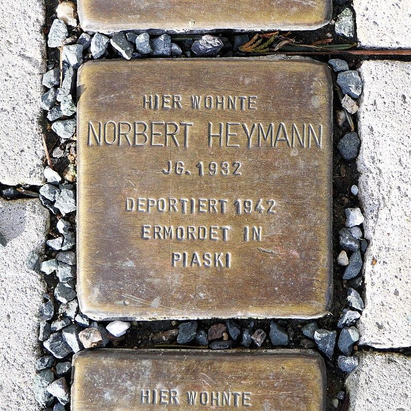 Stolperstein für Norbert Heymann, Heinrich-Heine-Strasse 12, Freiberg.JPG