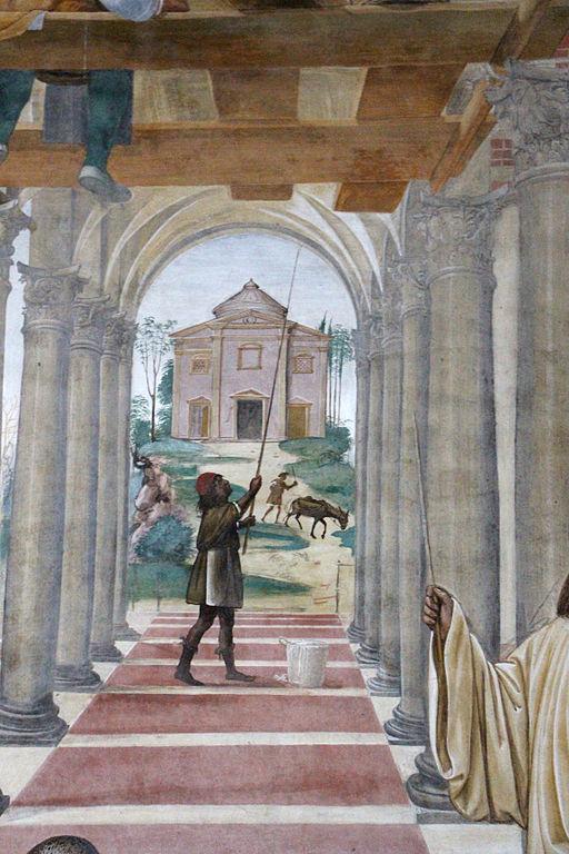 Il Sodoma, Le storie di San Benedetto, scena 11 - Come Benedetto compie la edificazione di dodici monasteri