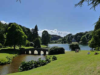 The landscape garden at Stourhead. Inspired by the great landscape artists of the seventeenth century, the landscape garden was described as a 'living work of art' when first opened in 1750s. Stourhead lake in midsummer - panoramio.jpg