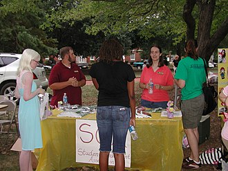 Student governments in the United States - University of Montevallo student government booth at a fair, 2007