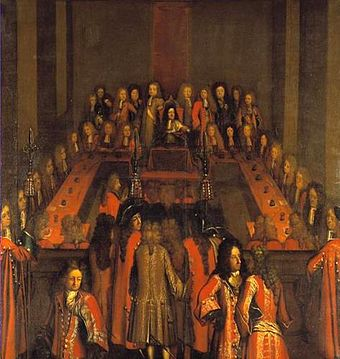 King Christian V presiding over the Supreme Court in 1697 Supreme Court of Denmark (1697).jpg