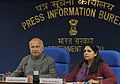 Sushil Kumar Shinde holding a press conference to present the Report Card of the Ministry of Home Affairs for the month of January, 2013, in New Delhi. The Principal Director General (M&C), Press Information Bureau.jpg