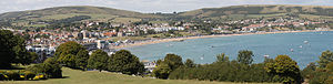Swanage - Panorama of Swanage, looking north-west from Peveril Point