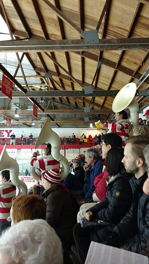 Lynah Rink - The Cornell Pep Band Sousaphones play Swanee River over an opposing team's bench to taunt them