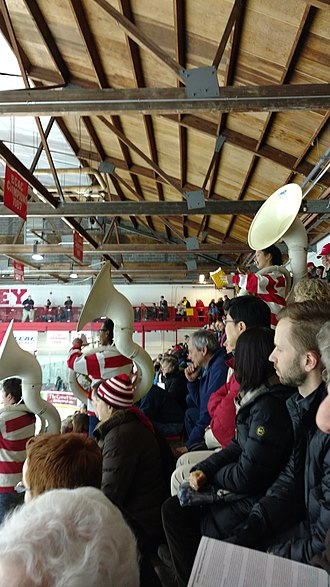 Cornell Big Red Pep Band - The Cornell Pep Band Sousaphones play Swanee River over an opposing team's bench to taunt them at Lynah Rink