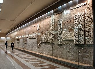 Metro station - Display of archeological relics found during construction in Athens Metro, part of the Syntagma Metro Station Archaeological Collection
