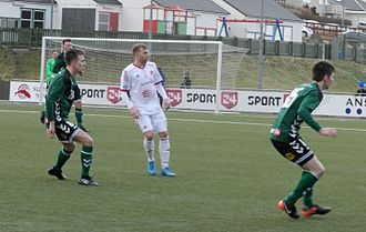 2017 Faroe Islands Premier League - TB/FC Suðuroy/Royn (in green) playing their first match, which was in the first round of Effodeildin against ÍF Fuglafjørður.