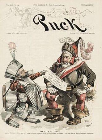 Tin Woodman - 1890 cartoon portraying President Benjamin Harrison as a knight in tin armor