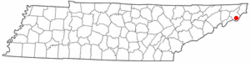Location of Roan Mountain, Tennessee