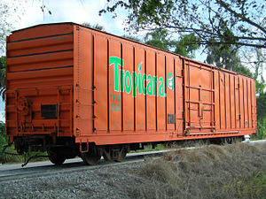 Juice Train - Former Tropicana refrigerated box car, shortly after being donated to the Florida Gulf Coast Railroad Museum — Parrish, Florida.