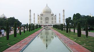 Symmetry - Seen from the side, the Taj Mahal has bilateral symmetry; from the top (in plan), it has fourfold symmetry.