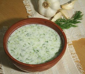 Bulgarian cuisine - Tarator is a cold soup made of yogurt, water, minced cucumber, dill, garlic, and sunflower or olive oil (Chips are also sometimes added).