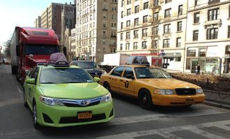 Taxicabs of New York City - Boro taxi (left) and Yellow Medallion taxi (right)