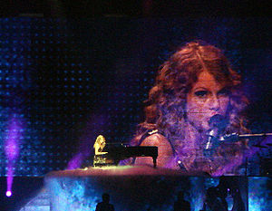 "Fearless (Taylor Swift album) - Swift performing ""You're Not Sorry"" on the Fearless Tour."