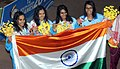 Team India won Gold medal in the Women's swimming 4x200M Freestyle category, at the 12th South Asian Games-2016, in Guwahati on February 09, 2016.jpg