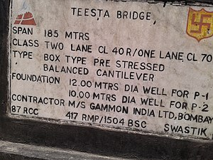 Teesta River - Teesta River Bridge Inscription