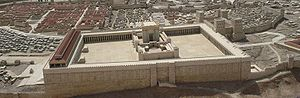 A reconstruction of Herod's Temple in Jerusalem. The mount draws its name from the Jewish Temple which once stood at the site