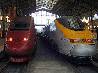 British Rail Class 373 - A Thalys PBKA TGV set with 373304/305 at Paris (Gare du Nord)