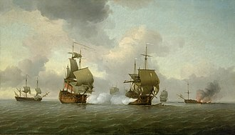 HMS Russell (1692) - Image: The Capture of the 'Glorioso', 8 October 1747