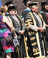 The Chancellor and Vice-Chancellor of Brunel stand ready with some graduates (7637454146) (cropped).jpg