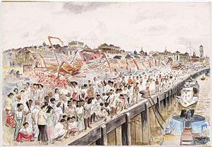 Vivian Pitchforth - The First British Troops in Rangoon (Art.IWM ART LD 5181)