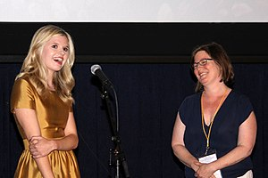 The Girl in the Book - Ana Mulvoy-Ten and Marya Cohn during a presentation for The Girl in the Book at the 2015 Los Angeles Film Festival